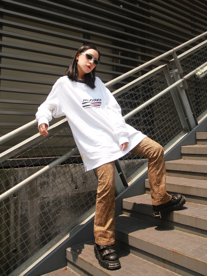 ///Fatty bone/// TOMMY white long sleeve TEE vintage Vintage