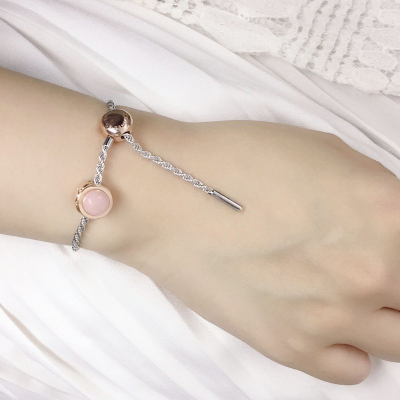 Two-tone 925 sterling silver rose gold package silver Vermeil October birthday stone natural pink Opel Newton bracelet
