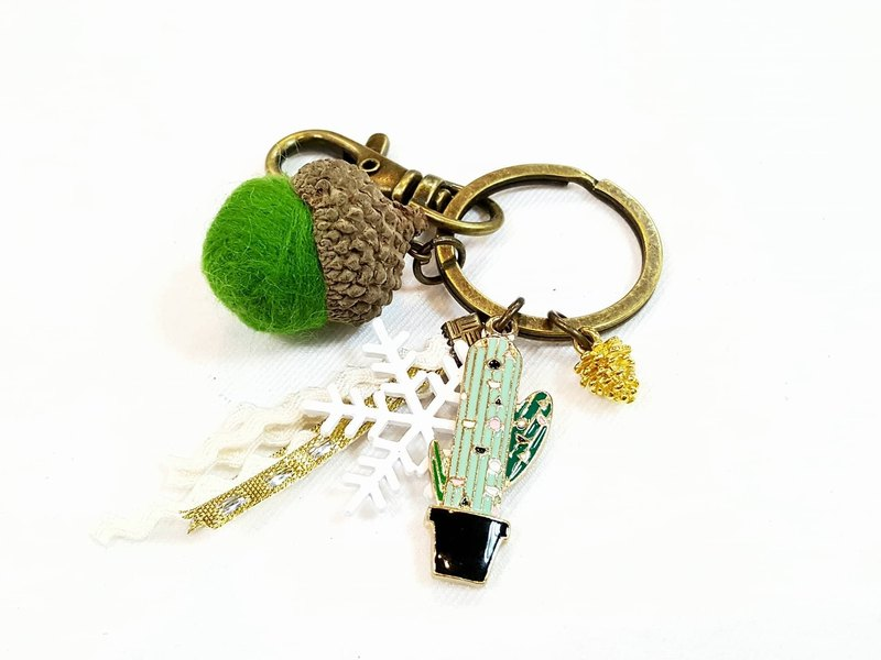 Paris * Le Bonheun. Happy forest. succulent plants. Wool felt acorn. Pine cone key ring strap. Christmas present