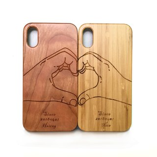 Handmade custom solid wood couple mobile phone shell, personalized gifts. Couple mobile phone shell, palm connected