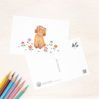 "4 pieces set. Like a picture book. Postcard ""Chico of a Puppy with Flowers"" PC-312"