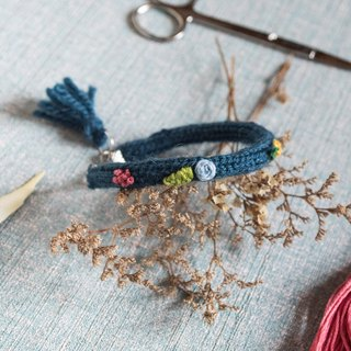 Handmade Blue Color Wool Bracelet with embroidery flowers