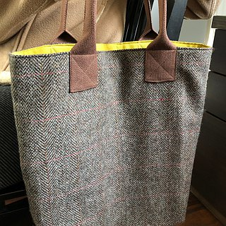 Large warm wool heart Tote Shoulder Bags (gray / brown two)