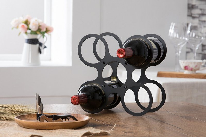 [OPUS Dong Qi Jingong] Dance round wine rack - classic black / petal shape / living room wine tray decoration / entrance