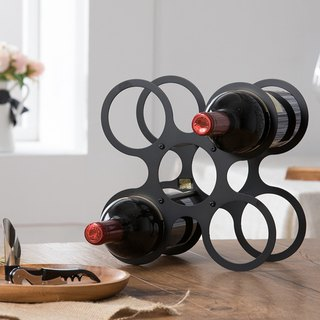【OPUS Eastern Metalwork】 Dance Round Wine Rack - Classic Black / Petal Style / Metal Home Desk / Wine Cabinet Decoration / Living Wine Decoration / Wine Bottle Display / Valentine's Day Gift WR-ci22 (B)