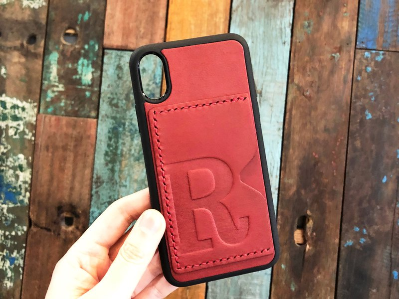 Initial text leather 手机 mobile phone case kit iPhoneX Plus Xs Max XR Italian leather