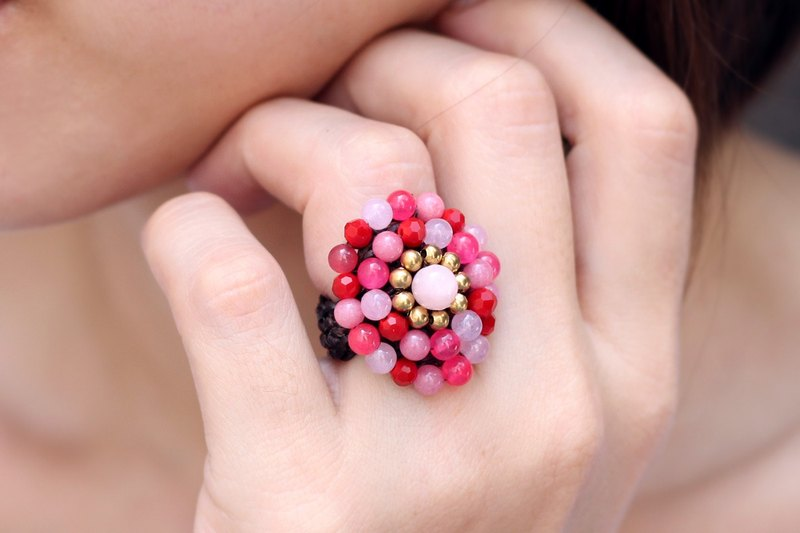 Pink Cocktail Ring Crochet Knitted Rose Quartz Cherry Pearl Party