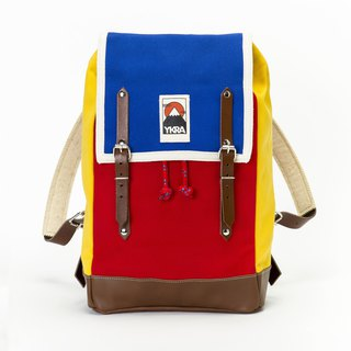 YKRA BACKPACK MATRA MINI LEATHER STRAP AND BOTTOM BLUE RED YELLOW