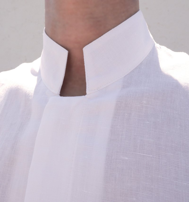 White linen cotton long sleeve shirt
