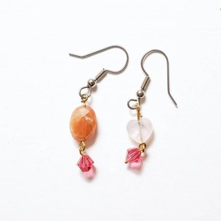 Pink Lady [X] hand made natural stone earrings person (rose quartz, red Maotu crystal. Swarovski)