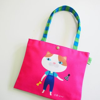 E * group new shoulder bags double-sided design (flower meow circus) canvas bag canvas bag cat frog