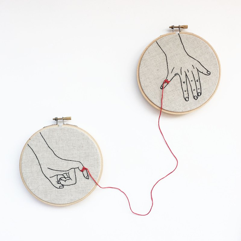 Your hand and his hand / embroidery hand portrait