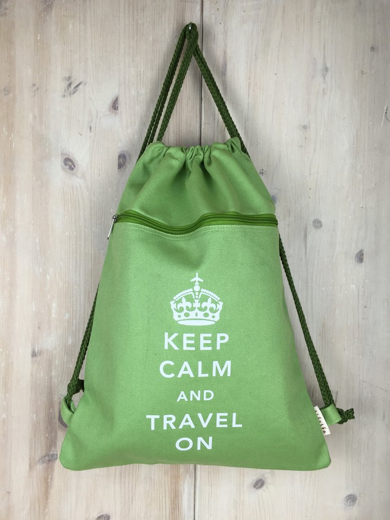 Keep Calm & Travel On Drawstring Backpack - Green