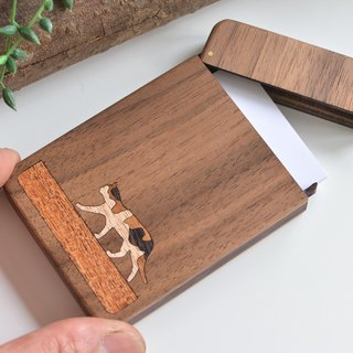 Wooden business card holder / walnut / Walking Calico Cat