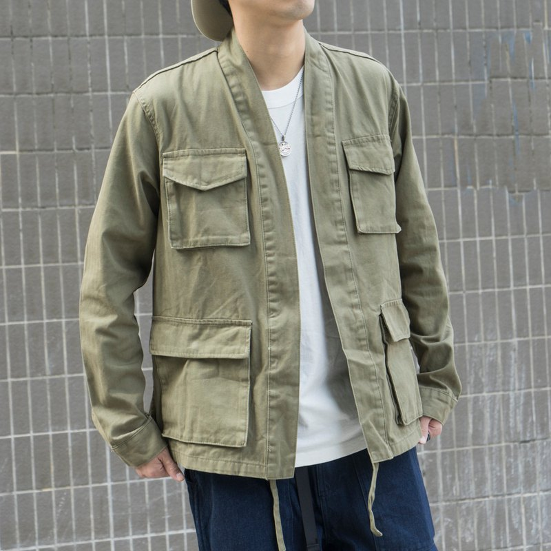 Japanese with four-pocket military style robe trend robe jacket