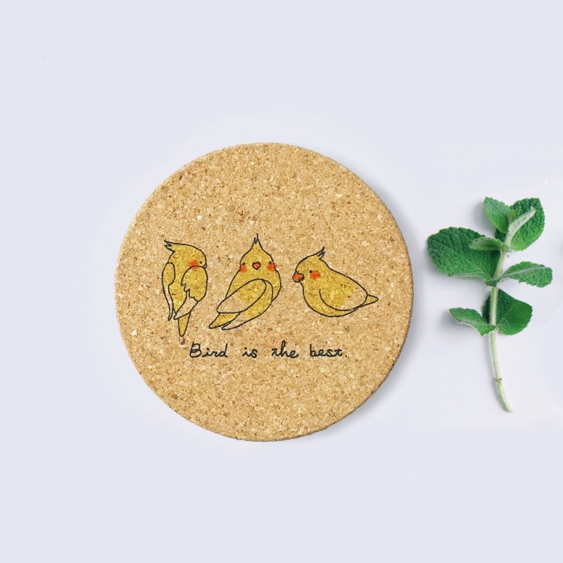 Yellow bird | green hand-painted cork coaster