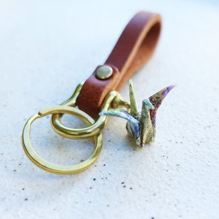 Paper crane leather key ring | Optional map | Couple models | Customized