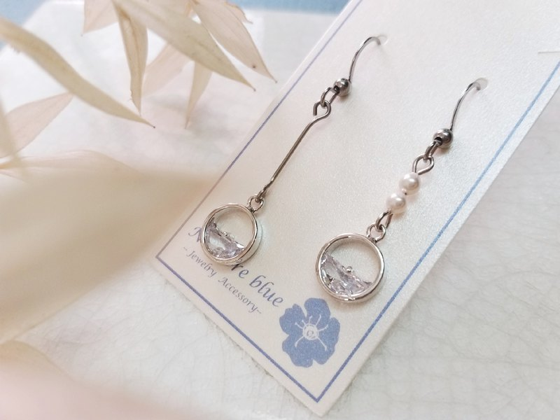 Silent zircon pearl earrings