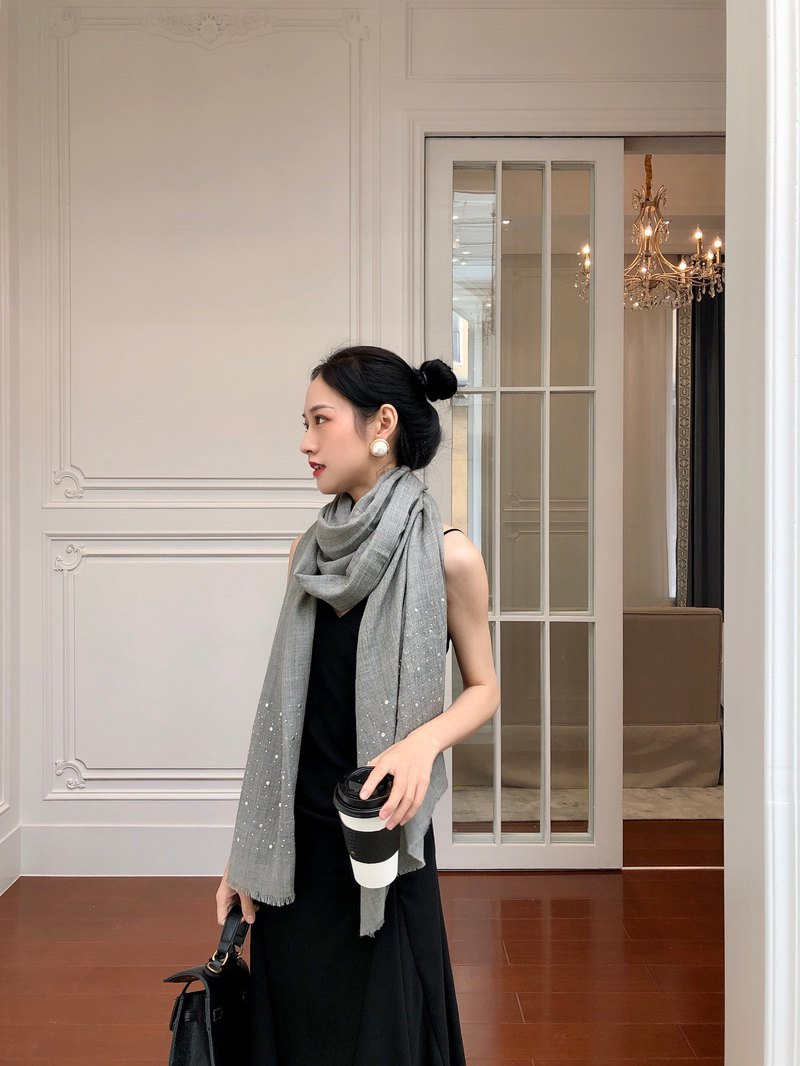 Indian studded woolen scarf