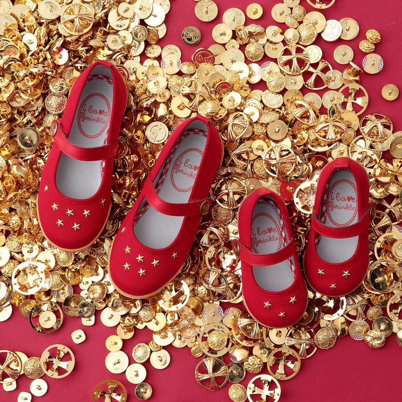 Gina Red Star Studded Doll Shoes
