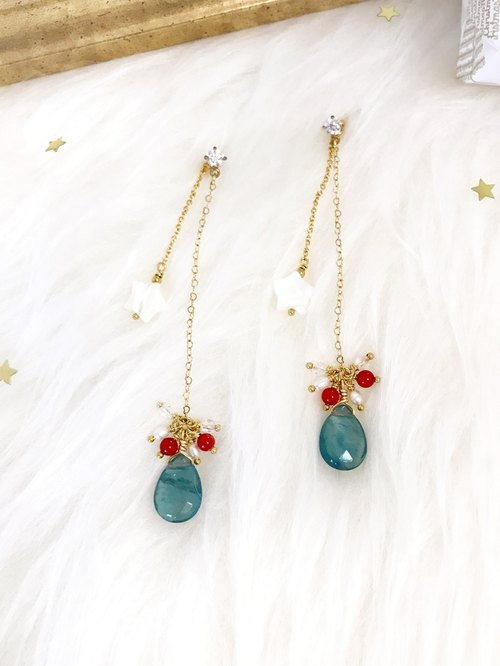 + Blue fluorite ‧ stars hanging long earrings +