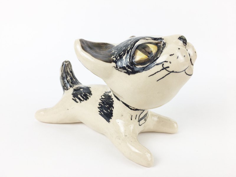 Nice Little Clay handmade three-dimensional decorations _ happy cat 1