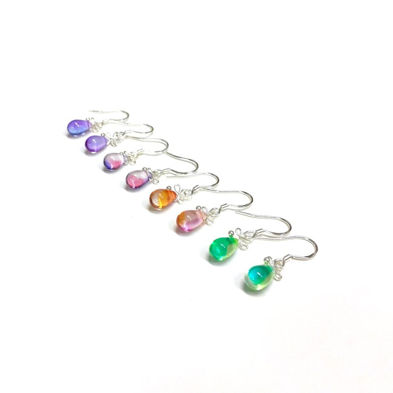 【TearDrop】Crystal Drop Earrings/ Mermaid's tears/Handmade Accessory/Ear clip