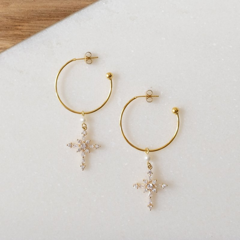 ALYSSA & JAMES Simple Wild Cross Zircon Natural Pearl Earrings