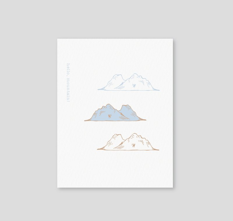Sybil-ho Hello, mountain! Letterpress mini card blue