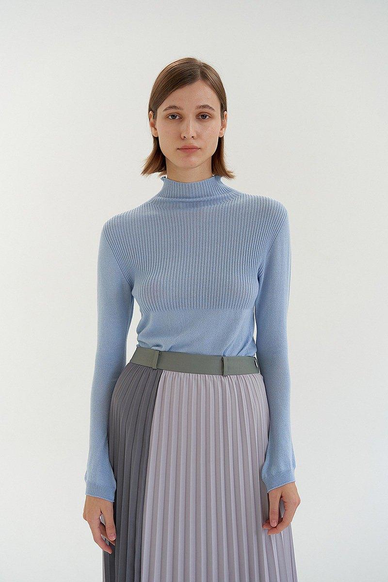 天絲棉細羅紋薄針織上衣- 天藍
