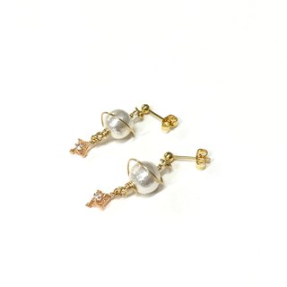 【Sang Sang】Asteroid. Cotton pearls. Mini zircon pendant. Imported 18k gold ear hooks. Can change ear clips.