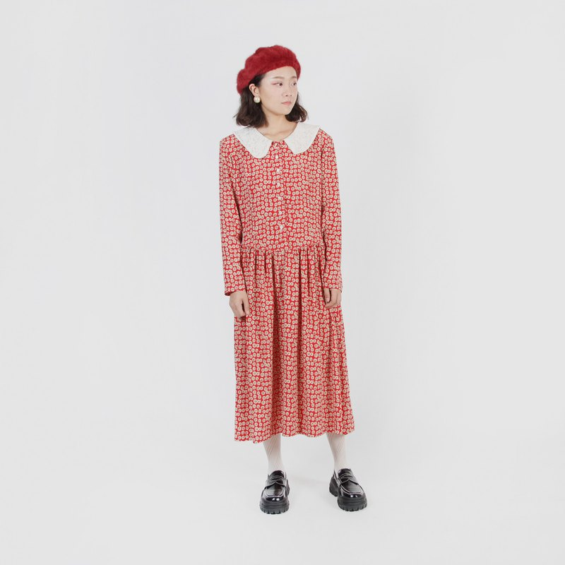 [Egg Plant Vintage] Showa Small Balls Lace Collar Printed Vintage Dress
