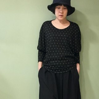 [TOP] small round short sleeve shirt _ black white little weaving
