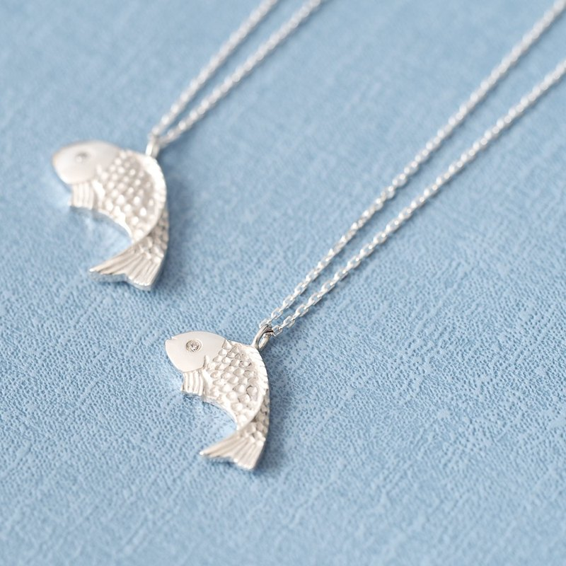 2 set) Koi fish pair necklace 925 Silver