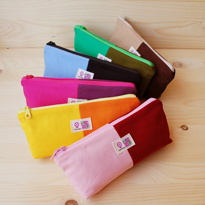 Double color canvas pen bag / wide bottom