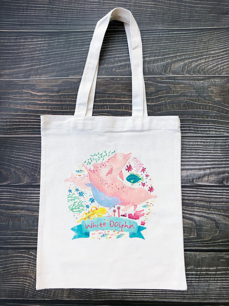 White dolphin canvas bag