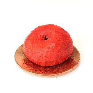 Cute round apple wooden magnet (with red copper small plate)--woodcut--handmade - hand made [can pick color]