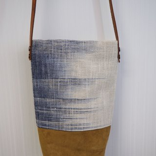 Hand-woven cotton and linen bucket bag