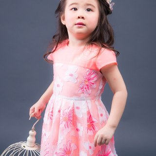 The little girl flower transparent gauze dress - pink