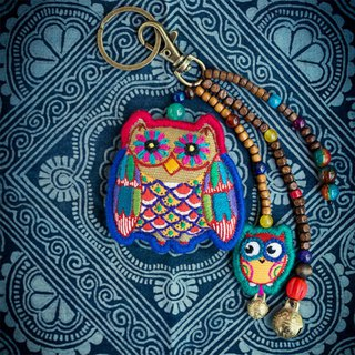 Owl Elf Original Handmade Exquisite Embroidery Keyring Keychain Car Bag Hanging Creative Pendant