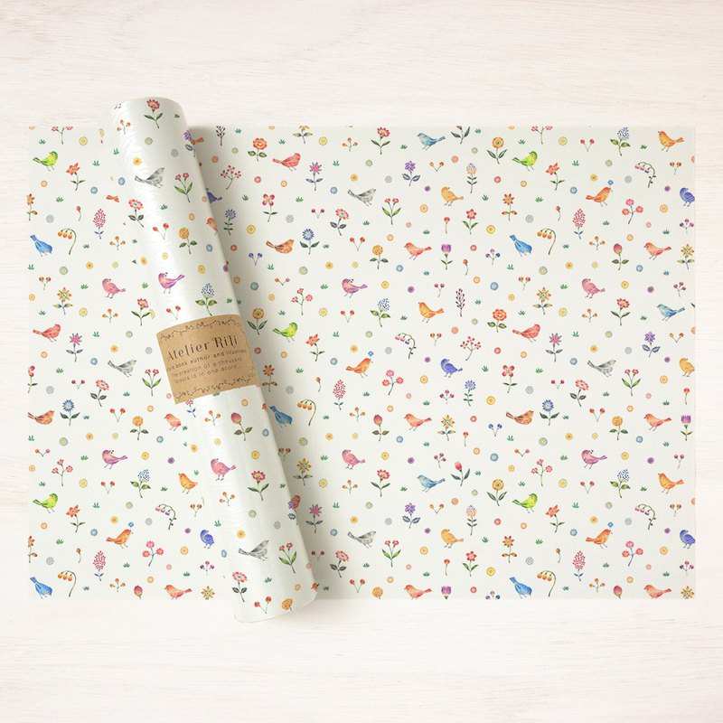 "6 sheets set. Wrapping paper A3 ""Flowers in the garden"" WP-A3527"