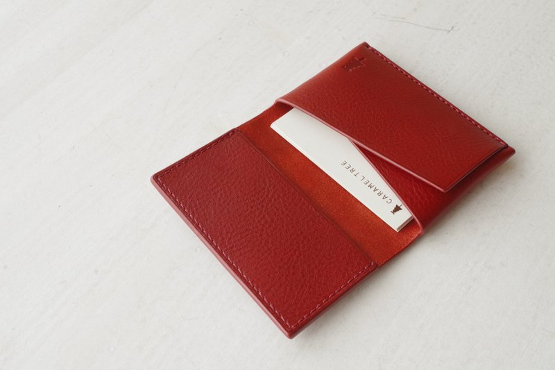 【受注生産】Italian leather Business Card Case   red