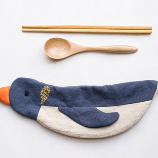 Penguin travel cutlery pouch case - Navy