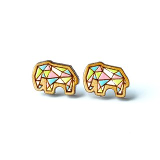 Painted wood earrings-Geometric elephant (Colorful)