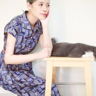Okinawa blue retro print small lapel long dress