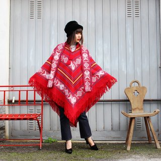 F3066 [Vintage cloak] red striped whitefish weave neckline bandage fringed cape (good Christmas gift exchange was recommended)
