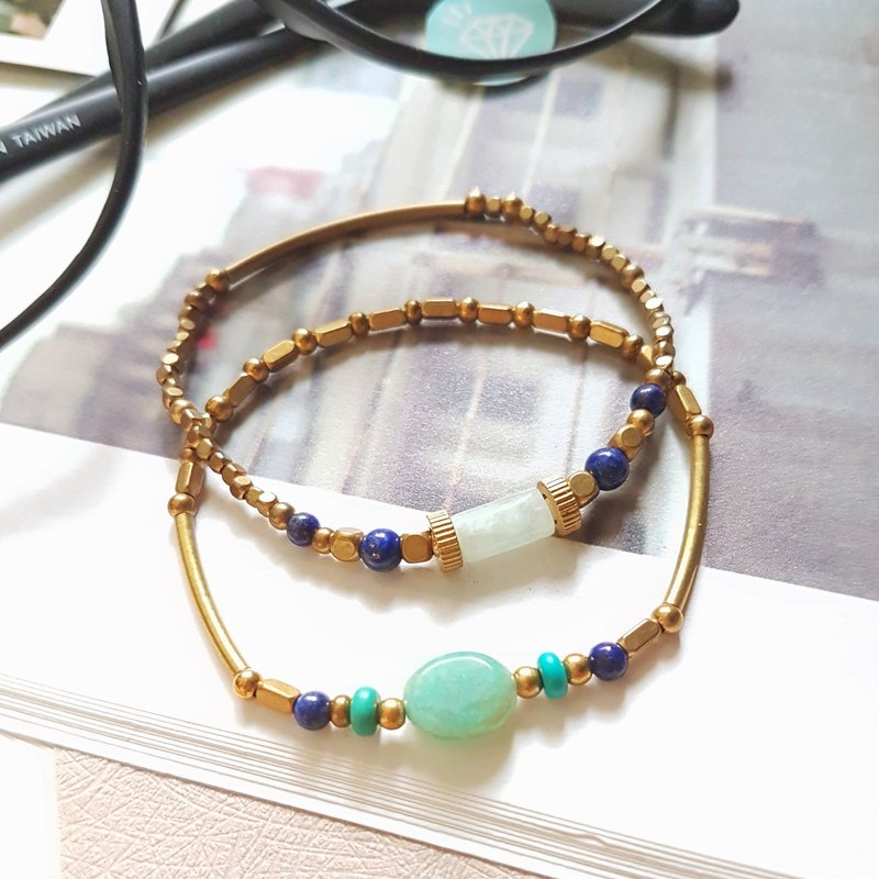 CuFun ◆ not separate with you (group 2) amazonite / Lapis / turquoise / brass bracelet gift custom designs