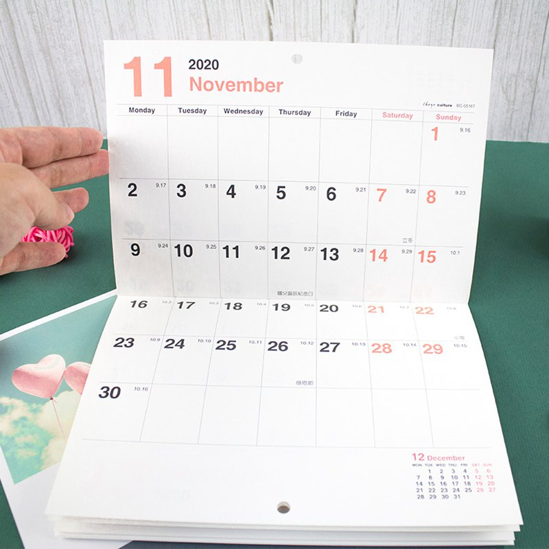 2020 A4/13K Hangable Monthly Plan Calendar/Calendar - Straight