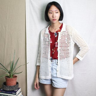FOAK vintage white collar collar checkered crocheted jacket