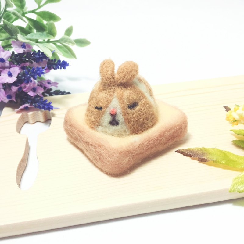 Wool felt paralysis toast _ peanut sesame rabbit